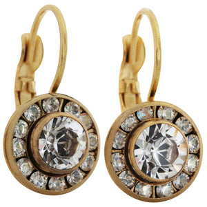 Liz Palacios 14k Gold Plated Small Round Disc Swarovski Crystal Earrings, BSE-6 Moonlight Clear