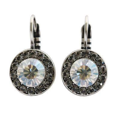 Mariana Silver Plated Round Disc Circle Small Swarovski Crystal Earrings, Ice Gray Moonlight 1129 512