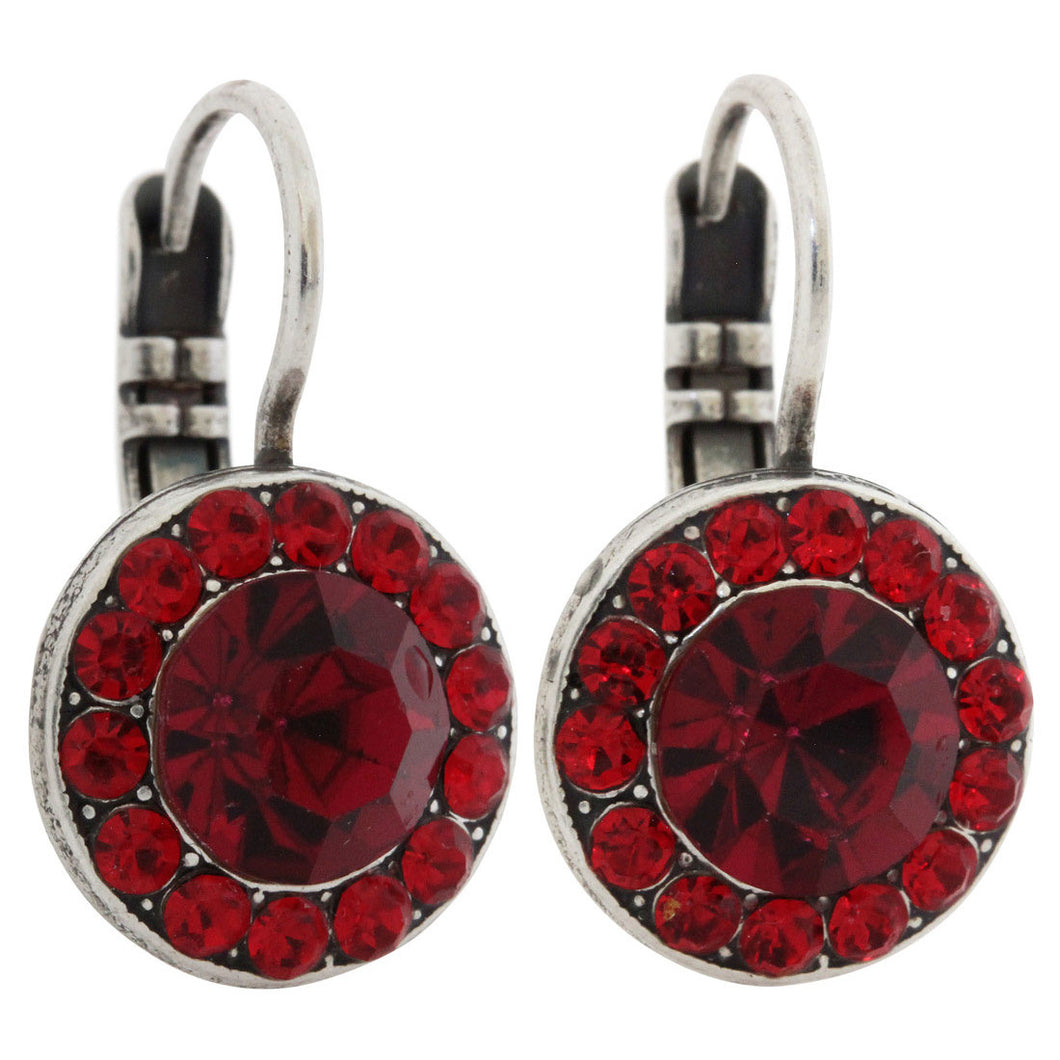 Mariana Silver Plated Round Disc Small Swarovski Crystal Earrings, Lady in Red 1129 1070