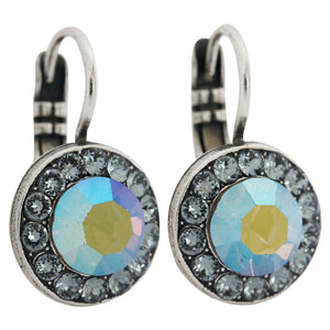 "Mariana ""Martini"" Silver Plated Round Disc Small Swarovski Crystal Earrings, 1129 215-3"