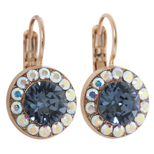 "Mariana ""Mood Indigo"" Rose Gold Plated Round Disc Small Swarovski Crystal Earrings, 1129 1069mr"