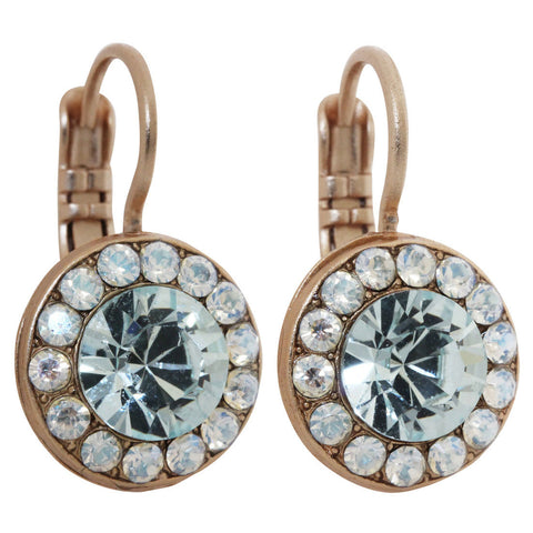 Mariana Rose Gold Plated Round Disc Small Swarovski Crystal Earrings, Moon Dance 1129 MOL361mr