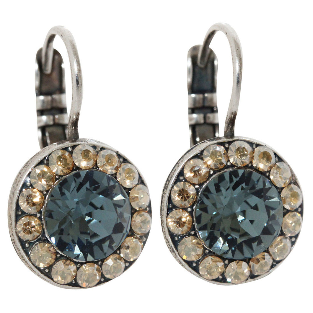 Mariana Silver Plated Round Disc Small Swarovski Crystal Earrings, Moon Drops 1129 216-3