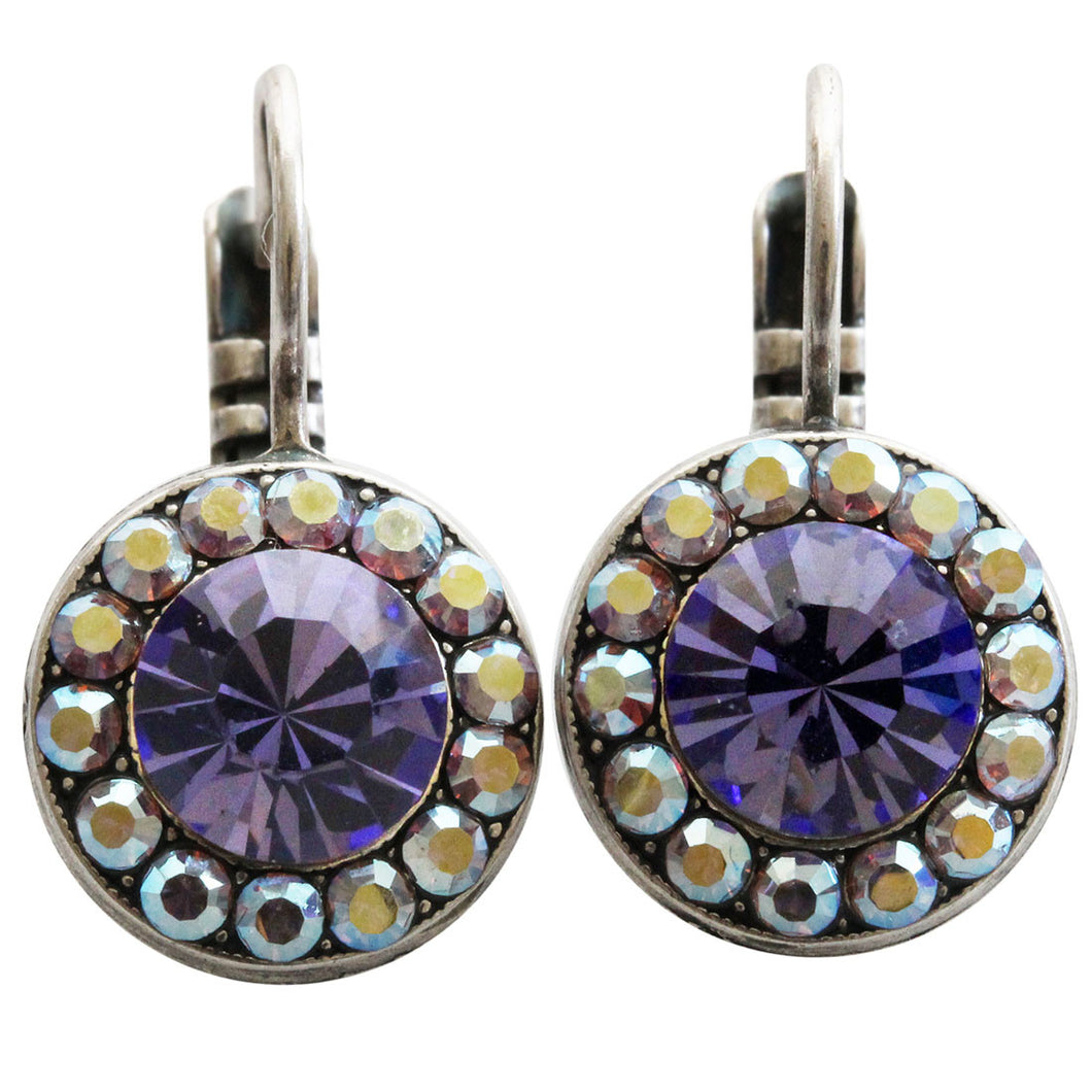Mariana Silver Plated Round Disc Small Swarovski Crystal Earrings, Purple AB 1129 539
