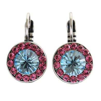 Mariana Silver Plated Round Disc Small Swarovski Crystal Earrings, Spring Flowers 1129 2141