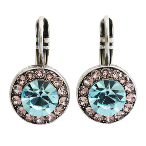 "Mariana ""Summer Fun"" Silver Plated Round Disc Circle Swarovski Crystal Earrings, 1129 3711"