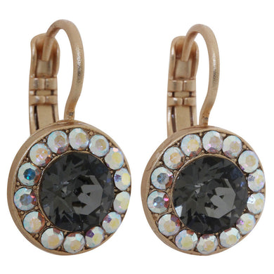 Mariana Rose Gold Plated Round Disc Small Swarovski Crystal Earrings, Tuxedo 1129 3701mr