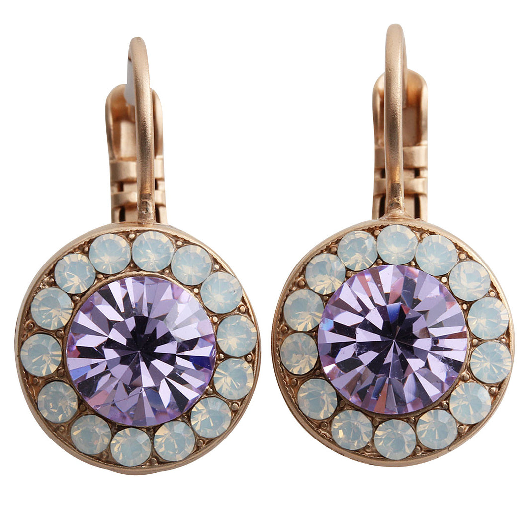 Mariana Rose Gold Plated Round Disc Small Swarovski Crystal Earrings, Twilight 1129 M83371mr