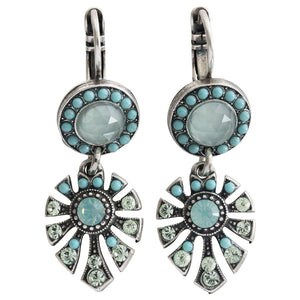 "Mariana ""Athena"" Silver Plated Round Fan Dangle Swarovski Crystal Earrings, 1514/3 M1087"