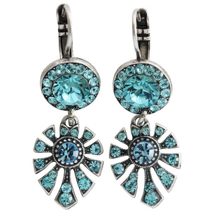 "Mariana ""Blue Aqua"" Silver Plated Round Fan Dangle Swarovski Crystal Earrings, 1514/3 202263"