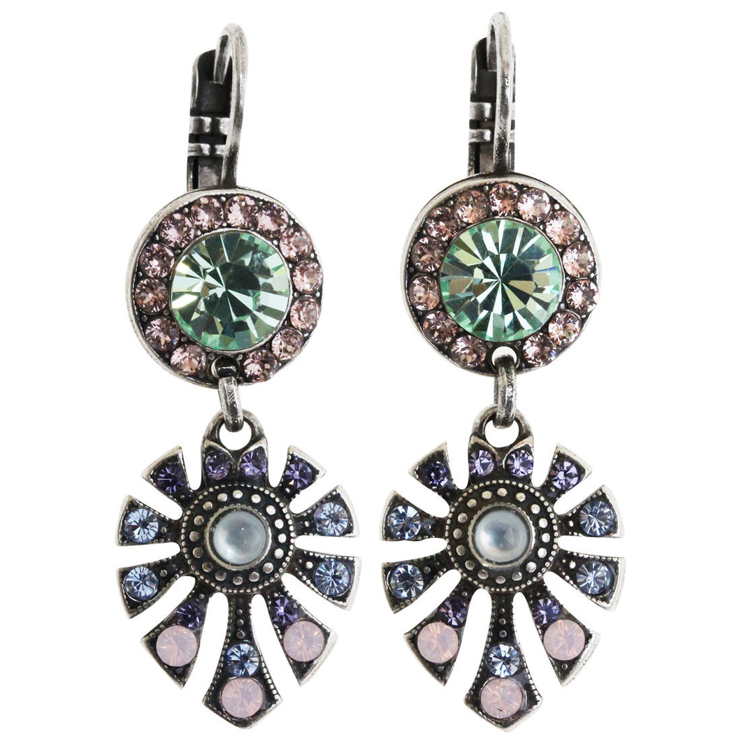 Mariana Silver Plated Round Fan Dangle Crystal Earrings, California Dreaming 1514/3 1067