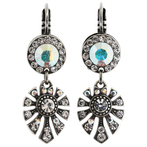 "Mariana ""On A Clear Day"" Silver Plated Round Fan Dangle Crystal Earrings, 1514/3 0011AB"