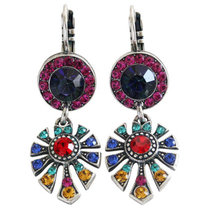 "Mariana ""Fantasy"" Silver Plated Round Fan Dangle Crystal Earrings, 1514/3 1037"