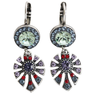 "Mariana ""Gaea"" Silver Plated Round Fan Dangle Swarovski Crystal Earrings, 1514/3 1090"