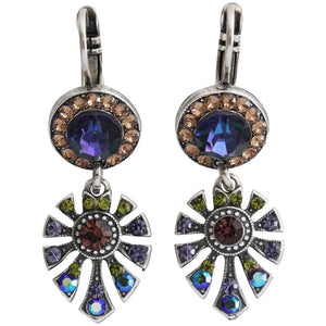 "Mariana ""Penelope"" Silver Plated Round Fan Dangle Swarovski Crystal Earrings, 1514/3 1089"