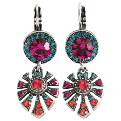 Mariana Sorbet Silver Plated Round Fan Dangle Crystal Earrings, 1514/3 292