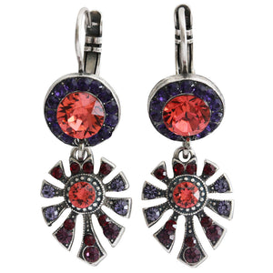 "Mariana ""Xenia"" Silver Plated Round Fan Dangle Swarovski Crystal Earrings, 1514/3 1091"