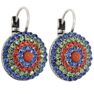 "Mariana ""Oasis"" Silver Plated Statement Round Swarovski Crystal Earrings, 1193 432"