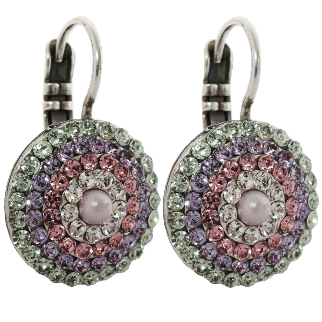 Mariana Silver Plated Statement Round Swarovski Crystal Earrings, Pina Colada 1193 1063