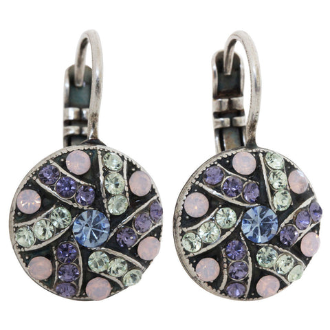 Mariana Silver Plated Round Patterned Swarovski Crystal Earrings, California Dreaming 1059/1 1067