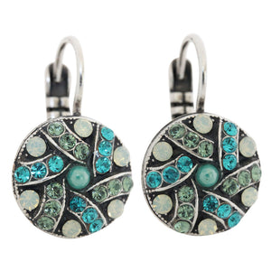 "Mariana ""Congo"" Silver Plated Round Patterned Swarovski Crystal Earrings, 1059/1 1076"