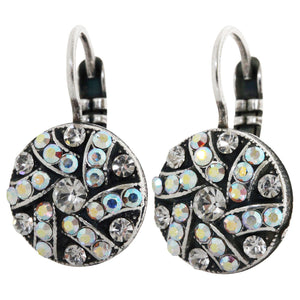 "Mariana ""On A Clear Day"" Silver Plated Round Patterned Swarovski Crystal Earrings, 1059/1 0011AB"