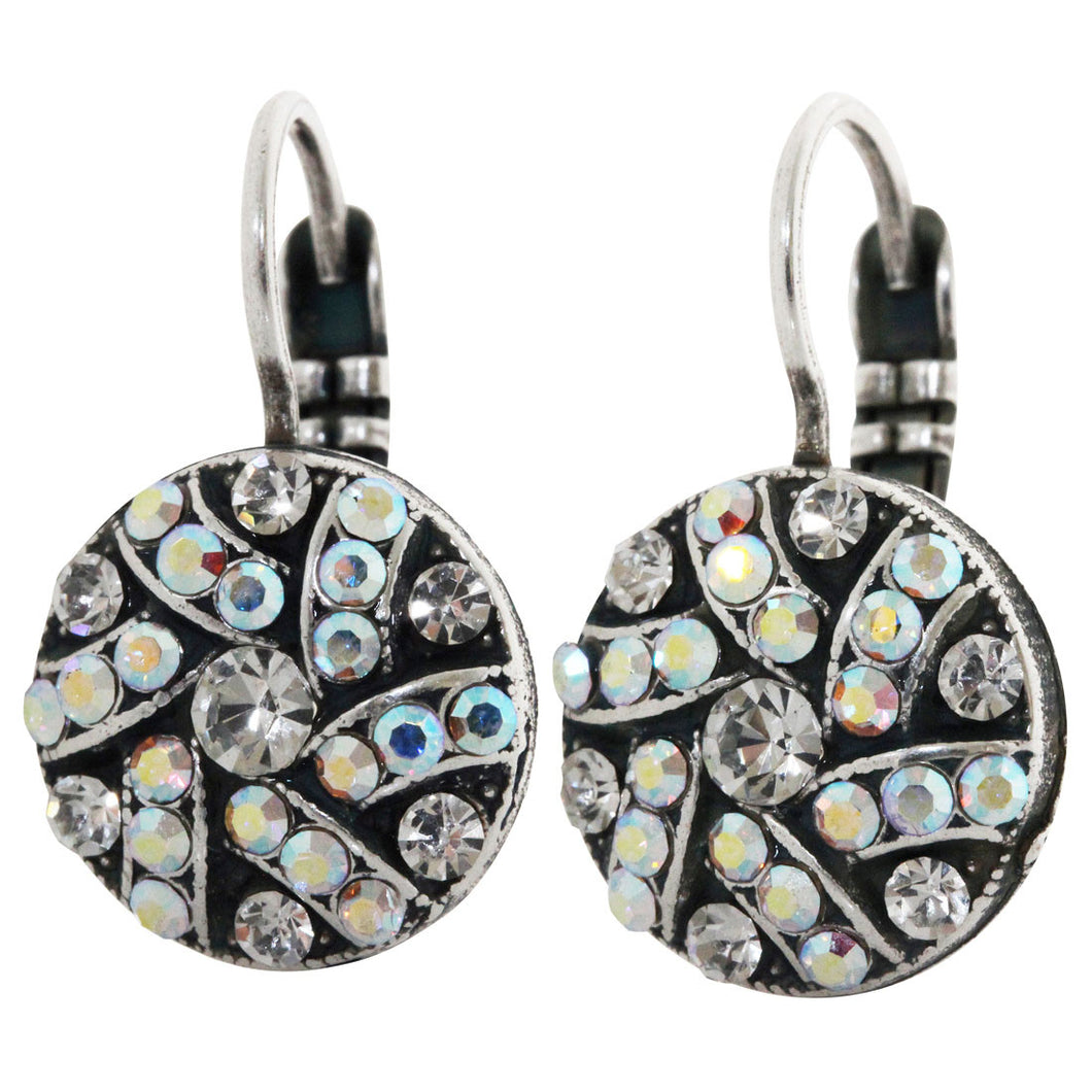 Mariana Silver Plated Round Patterned Swarovski Crystal Earrings, Clear Crystal AB 1059/1 0011AB