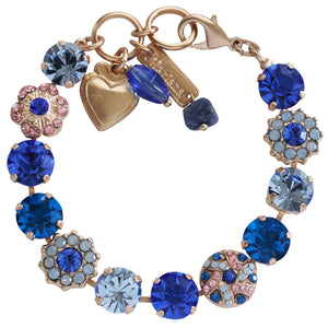 "Mariana ""Kiss from a Rose"" Rose Gold Plated Large Round Patterned Floral Swarovski Crystal Bracelet, 7"" 4259 1068mr"