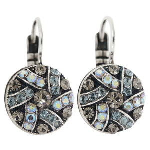 "Mariana ""Martini"" Silver Plated Round Patterned Swarovski Crystal Earrings, 1059/1 215-3"