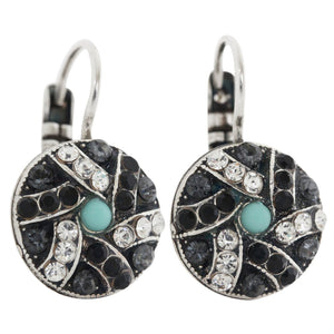 "Mariana ""Zanzibar"" Silver Plated Round Patterned Swarovski Crystal Earrings, 1059/1 1081"