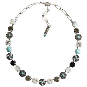 "Mariana ""Zanzibar"" Silver Plated Large Round Patterned Floral Swarovski Crystal Necklace, 19"" 3259/1 M1081"
