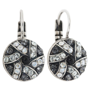 "Mariana ""Zulu"" Silver Plated Round Patterned Swarovski Crystal Earrings, 1059/1 1080"