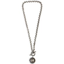 "Catherine Popesco Sterling Silver Plated Round Crystal Border Pendant Necklace, 17"" 1492 Shade"