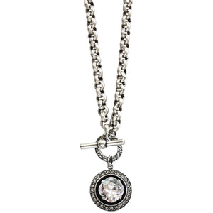 "Catherine Popesco Sterling Silver Plated Round Crystal Border Pendant Necklace, 17"" 1492 Clear"