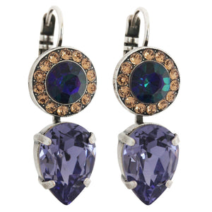 "Mariana ""Penelope"" Silver Plated Round Teardrop Statement Swarovski Crystal Earrings, 1040 1089"