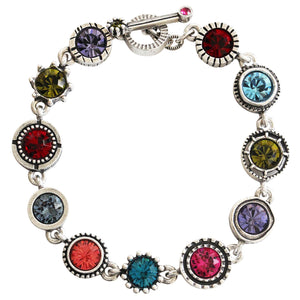 "Patricia Locke Round Two Sterling Silver Plated Round Swarovski Mosaic Art Bracelet, 7.5"" BR0274S Celebration"