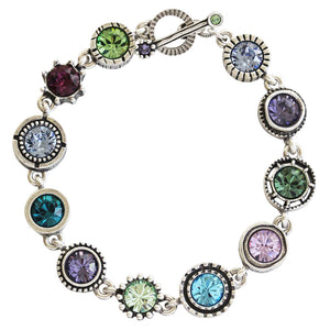 "Patricia Locke ""Round Two"" Sterling Silver Plated Round Swarovski Mosaic Art Bracelet, 7.5"" BR0274S Waterlily"