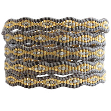 Chan Luu TREND Collection Base Metal Scallop Beaded Grey Mix Coated Metallic Crystals Natural Grey Leather Wrap Bracelet BGZ-4077