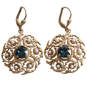 Catherine Popesco 14k Gold Plated Crystal Scalloped Vine Ornate Earrings, 4869G Montana