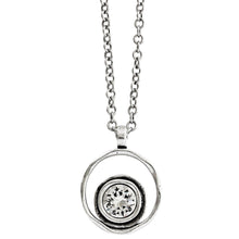 Patricia Locke Serenity Sterling Silver Plated Round Double Ring Pendant Swarovski Necklace, All Crystal NK0390S