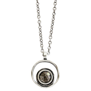 Patricia Locke Serenity Sterling Silver Plated Round Double Ring Pendant Swarovski Necklace, NK0390S Gray
