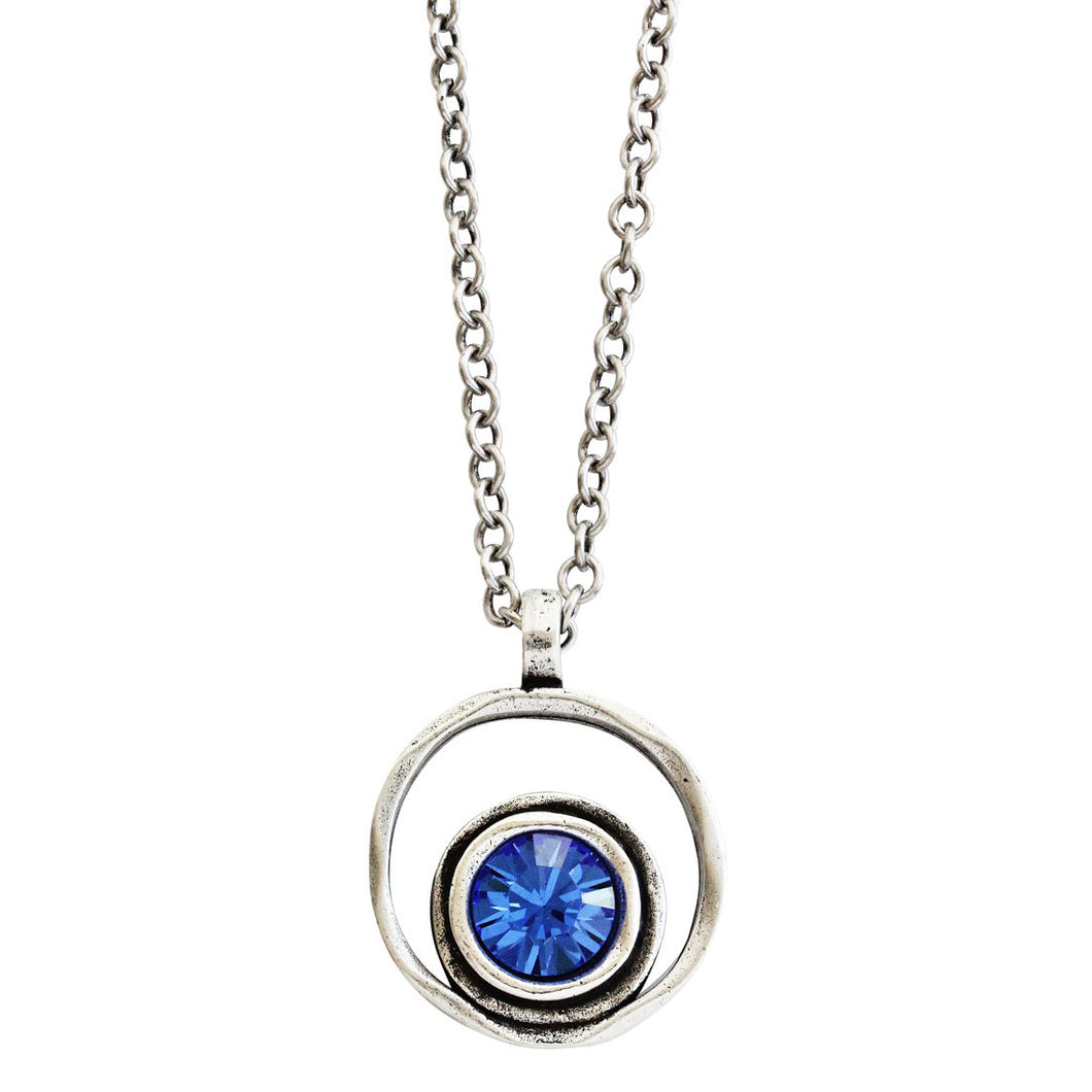 Patricia Locke Serenity Sterling Silver Plated Round Double Ring Pendant Swarovski Necklace, NK0390S Royal Blue