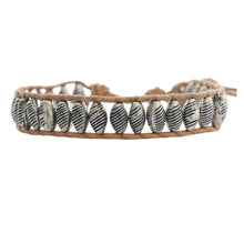 Chan Luu Antique Silver Bead Single Wrap Bracelet on Beige Leather BS-4373