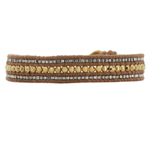 Chan Luu Gold Plated Gunmetal Beaded Single Wrap Bracelet on Natural Brown Leather bg-4873