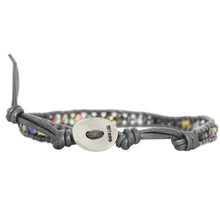 Chan Luu Crystal VM Single Wrap Bracelet on Grey Leather BS-5100