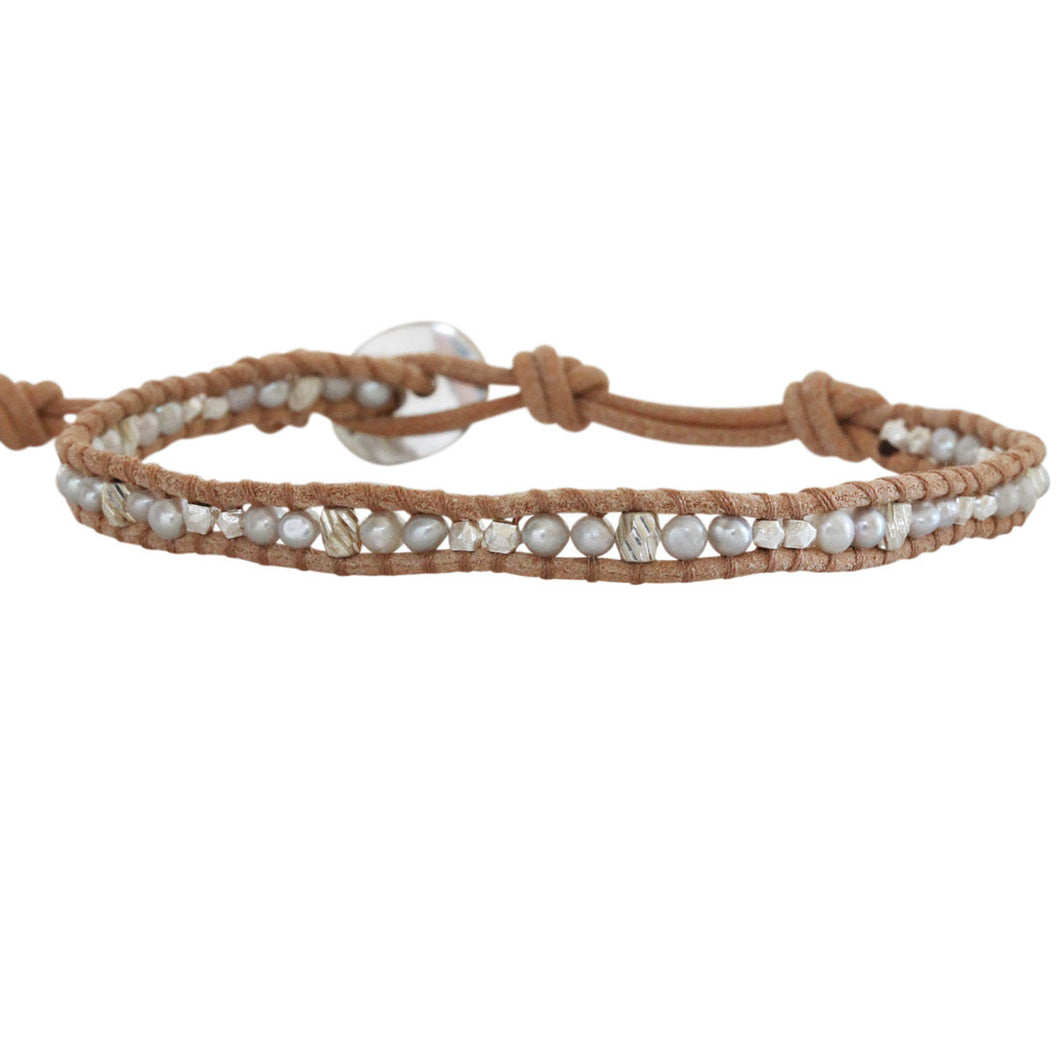 Chan Luu Grey Pearl Mix with Sterling Silver Nuggets Single Wrap Bracelet on Natural Brown Leather
