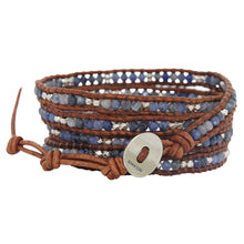 "Chan Luu ""Boots & Jeans"" Sodalite Sterling Silver Nuggets on Natural Brown Leather Wrap Bracelet BS-2299"