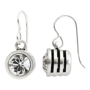 Patricia Locke Slotted Classic Sterling Silver Plated Round Swarovski Earrings, EF0105S All Crystal