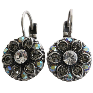 Mariana Silver Plated Small Flower Swarovski Crystal Earrings, Grey 1401 512
