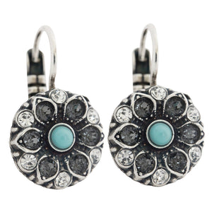 "Mariana ""Zanzibar"" Silver Plated Small Flower Swarovski Crystal Earrings, 1401 1081"